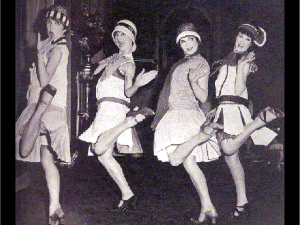 Flappers dancing in a line